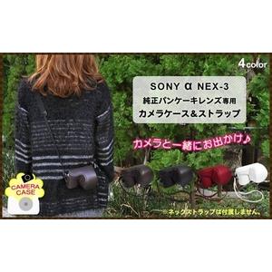 【デジカメケース】ソニー アルファNEX-3用 ブラックレザー ハンディストラップ - 拡大画像