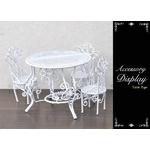アンティーク風ミニチュア家具 テーブルチェアセット型ディスプレイ ホワイト ドール用にも!