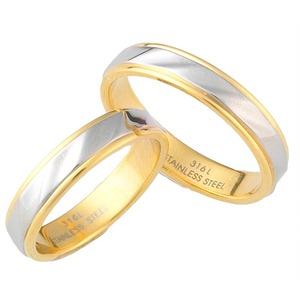 【ステンレス製指輪】カットラインリング ゴールド/シルバー コンビカラー【5号】 - 拡大画像