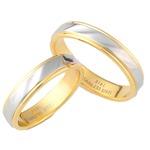 【ステンレス製指輪】カットラインリング ゴールド/シルバー コンビカラー【5号】