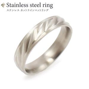 【ステンレス製指輪】カットラインリング シルバーカラー【15号】 - 拡大画像