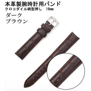 【腕時計用ベルト2本組】本革バンド クロコダイル柄型押し16mmダークブラウン - 拡大画像