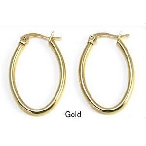 ステンレスピアス オーバルフープ(楕円) S ゴールドカラー(2ペア)