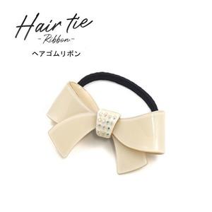 【3個セット】ヘアゴム リボン(ホワイト) - 拡大画像