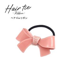 【3個セット】ヘアゴム リボン(ピンク) - 拡大画像
