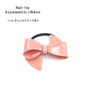 【3個セット】ヘアゴム アシンメトリーリボン(ピンク) - 拡大画像