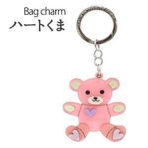 【2個セット】バッグチャーム ハートくま(ピンク×パープル) - 拡大画像