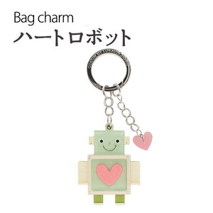 【2個セット】バッグチャーム ハートロボット(ライトブルー) - 拡大画像