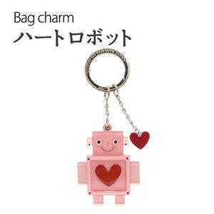 【2個セット】バッグチャーム ハートロボット(ピンク) - 拡大画像