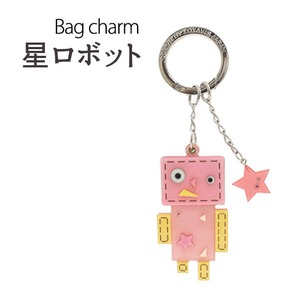 【2個セット】バッグチャーム 星ロボット(ピンク) - 拡大画像