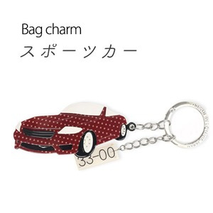 【2個セット】バッグチャーム スポーツカー(ドット×レッド) - 拡大画像