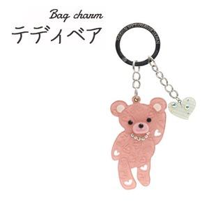 【2個セット】バッグチャーム テディベア(ピンク) - 拡大画像