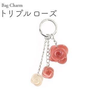 【2個セット】バッグチャーム トリプルローズ(ピンク×ピンク×ホワイト) - 拡大画像