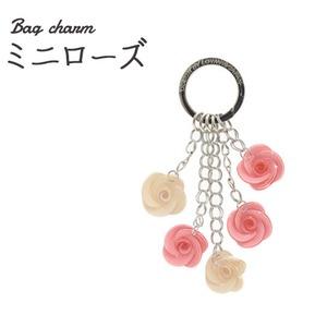 【2個セット】バッグチャーム ミニローズ(ピンク) - 拡大画像