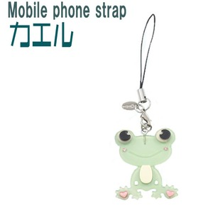 【4個セット】携帯ストラップ カエル(グリーン) - 拡大画像