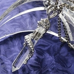 【訳あり・在庫処分】昇竜八角水晶ネックレス(チタンチェーン) チェーン60cm
