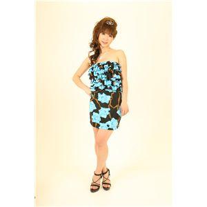 【コスプレ】 ナイトドレス フリルワンピ花柄 青 - 拡大画像
