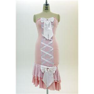 ナイトドレス レースアップ ピンク/白 - 拡大画像