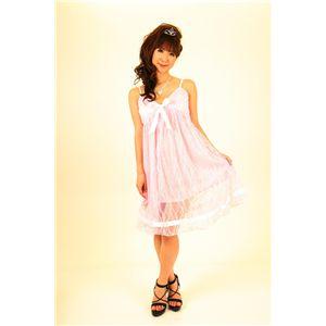 ナイトドレス レースミドル丈ワンピ (薄いピンク色) - 拡大画像