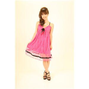 ナイトドレス レースミドル丈ワンピ (濃いピンク色) - 拡大画像