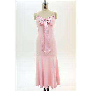 ナイトドレス リボンロングドレス ピンク - 拡大画像