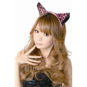 コスプレ- フワフワ猫耳カチューシャ 横耳 ピンク豹柄/黒 2個セットの画像
