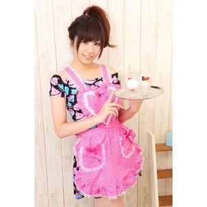 メイドエプロン/コスプレ衣装 【ドット ピンク】 着丈60cm �