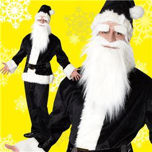 サンタコスプレ/コスプレ衣装 【ブラック 前面ファスナー】 メンズ 帽子 ジャケット ベルト パンツ付 『GOGOサンタサン』 - 拡大画像