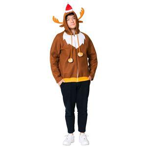 クリスマスコスプレ/衣装 【トナカイパーカー】 メンズ180cm迄 ポリエステル 〔イベント パーティー〕