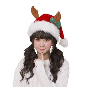【クリスマスコスプレ 衣装】リボントナカイサンタ帽 - 拡大画像