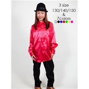 e4b23372d28fb  キッズダンスウェア Step by Teens Ever サテンシャツ ショッキングピンク 140サイズ