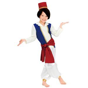 子供用 ハロウィンコスプレ 【キッズアラビアンプリンス 100サイズ】 帽子 シャツ付ベスト ベルト パンツ ポリエステル - 拡大画像