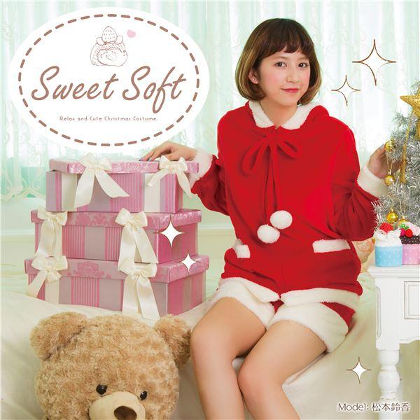 ふわもこ素材 Sweet Soft サンタコスプレ ポンポンパーカーサンタ