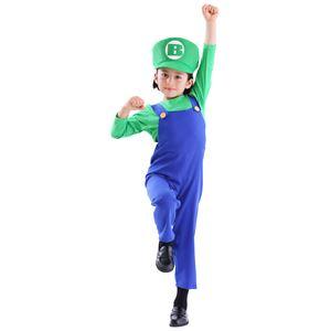 子供用 コスプレ衣装 【グリーンブラザー キッズ120サイズ】 帽子 トップス オーバーオール ポリエステル 〔ハロウィン〕