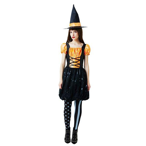 【ハロウィン/魔女衣装/黒&オレンジ】 バルーンウィッチ オレンジ Ladies