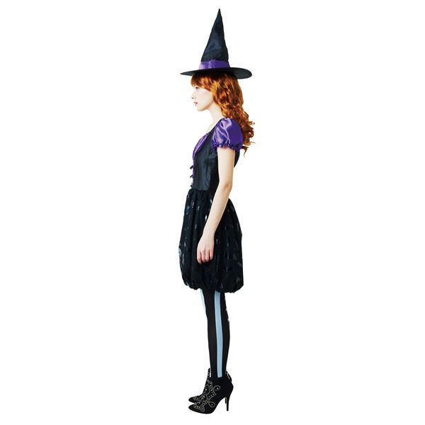 【ハロウィン/魔女衣装/黒&紫】 バルーンウィッチ パープル Ladies