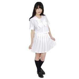 制服/コスプレ衣装 【ホワイト Lサイズ】 洗える セーラーブラウス リボン スカート付き ポリエステル 『カラーセーラー』 - 拡大画像