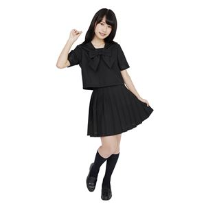 制服/コスプレ衣装 【ブラック Lサイズ】 洗える セーラーブラウス リボン スカート付き ポリエステル 『カラーセーラー』の画像