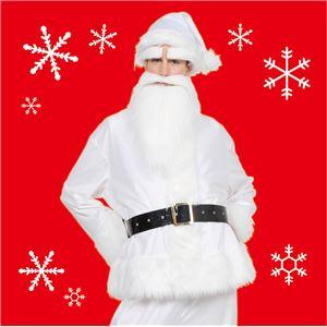 サンタコスプレ/コスプレ衣装 【ホワイト 前面ファスナー】 メンズ 帽子 ジャケット ベルト パンツ付 『GOGOサンタサン』 - 拡大画像