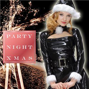 【クリスマスコスプレ 衣装】 エナメルワンピースサンタ ブラック - 拡大画像