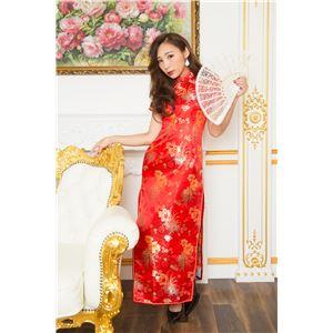 チャイナ服(ドレス) 膝下ロング丈 花柄 L (赤)の画像