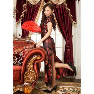 チャイナ服(ドレス) 膝下ロング丈 羽柄 S (赤/黒)の画像