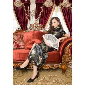 チャイナ服(ドレス) 膝下ロング丈 花柄 L (黒)の画像