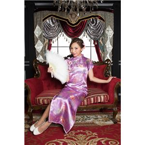 チャイナ服(ドレス) 膝下ロング丈 花柄 L (薄紫)の画像