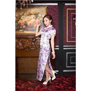 チャイナ服(ドレス) 膝下ロング丈 羽柄 M (白/紫)の画像