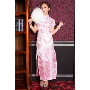 チャイナ服(ドレス) 膝下ロング丈 羽柄 M (白/ピンク)の画像