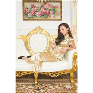 チャイナ服(ドレス) 膝下ロング丈 龍凰柄 M (金)の画像