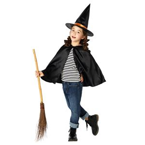 子供用 コスプレ衣装 【ハロウィン魔女セット】 帽子 マント付き ボタン仕様 ポリエステル 〔ハロウィン〕の画像