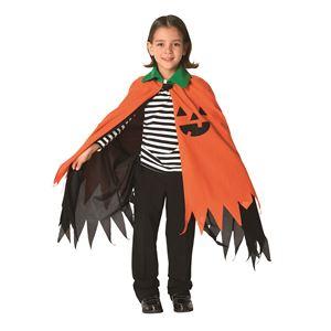 子供用 コスプレ衣装 【ハロウィンパンプキンマント】 ボタン仕様 ポリエステル 〔ハロウィン〕の画像