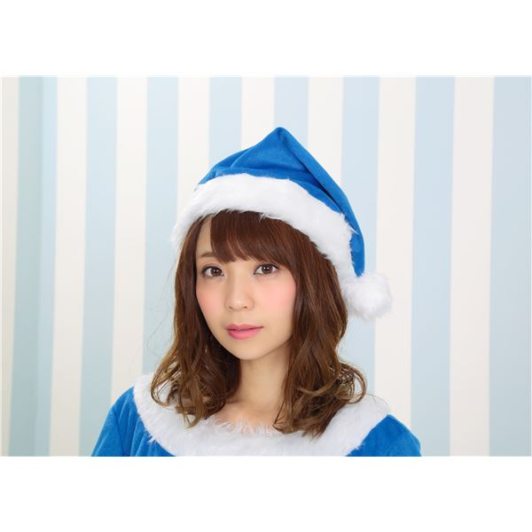 【サンタコスプレ/ブルー・青/レディース】 カラフルサンタ レディース ブルー